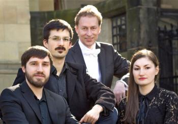 Das Ensemble Concerto Giovannini: Uwe Ulbrich (Violine), Dávid Budai (Viola da gamba), Karsten Henschel (Countertenor) und Julia Chmilewska (Cembalo)