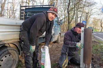 Daniel Warncke (li.) und Matthias Schwart von der Fa. A&T Galabau verbauen in der Parkstraße 236 Poller. Es handelt sich um eine Schutzmaßnahme für die Bäume, Fußgänger und Radfahrer.