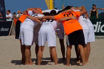 Die Deutsche Beachsoccer-Meisterschaft des DFB am Strand von Warnemünde.